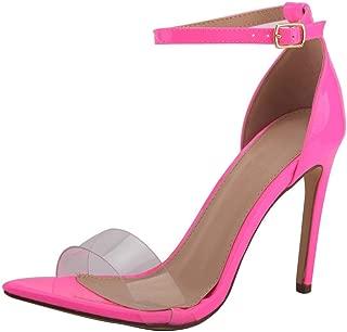 Jiu du Women's Sexy High Heels Open Toe Slip On Pumps Stiletto Colorful Summer Dress Sandals Wedding Shoes