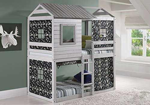 Custom Kids Furniture House Double Bunk Beds with Camouflage Tents  Free Storage Pockets