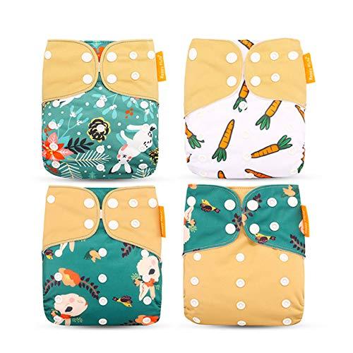 4 Piezas Baby Pocket Pañal Juego de Pañales de Tela Todo En Uno Cómodo Transpirable Reutilizable Pañales Lavables Insertos para Bebés y Niños Pequeños (Verde + Café + Conejo + Rábano)