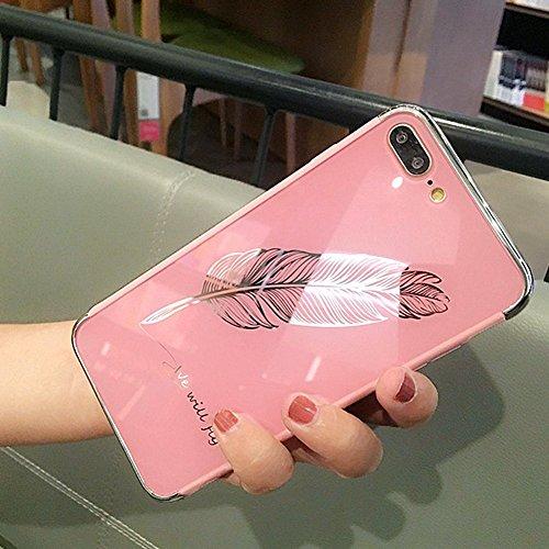 JAWSEU Coque Etui iPhone 6S Miroir Cristal Clair Silicone Case iPhone 6 Ultra-Mince TPU Placage Miroir Housse de Protection Soft Gel Plastique Dur Plume Motif Shockproof Bumper Case