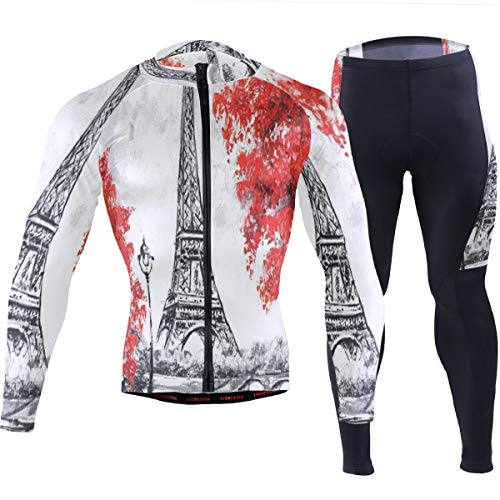 SLHFPX Mens Cycling Jersey Paris Oil Painting Eiffel Tower Long Sleeve MTB Bike Jakcet Pad Pants Set