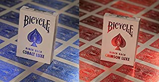 Bicycle Metal Luxe MetalLuxe Rider Back Playing Cards 2 Decks Crimson Red and Cobalt Blue