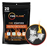 FireFlame Quick Instant Fire Starter - 100% Waterproof All-Purpose Indoor & Outdoor FireStarter, for Charcoal Starter, Campfire, Fireplace, Firepit, Smoker - Odorless and Non-Toxic - 20 Pouches in Bag