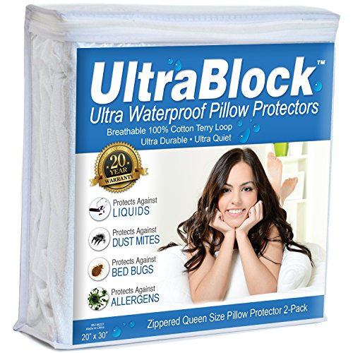 UltraBlock Queen Size Waterproof Pillow Protector - Hypoallergenic & Bed Bug Proof Zippered Terry Cotton Pillow Cover - 2 Pack