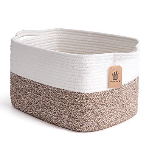 Goodpick Cube Storage Bins - Shelf Baskets for Storage Toys Storage Basket Towel Book Cloth Storage Bins for Office Woven Basket for Shelves Baby Laundry Basket Closet Storage Basket, 13''x9.8''x9''