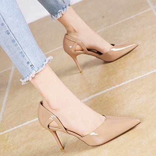 YMFIE Style européen de la Mode de Printemps et d'été à Talons Hauts Laque Chers Chaussures Confortables évidé
