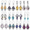 12 Pairs Hypoallergenic Earring Moonlight Opal Tears Drop Earrings for Women Boho Colorful Moonstone Dangle Earrings for Girls (Color1-12 Pairs)