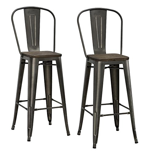 DHP Luxor Metal Counter Stool with Wood Seat and Backrest, Set of two, 30', Antique Copper