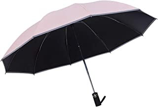 Junefish Inverted Windproof Umbrella with UV Coating,10 Ribs Auto Open and Close Travel Umbrella with Night Reflective Stripes for Safety (Pink)
