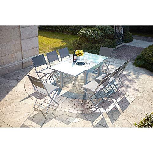 CONCEPT USINE - Salon De Jardin Molvina 8 Personnes Extensible Gris Clair - 1 Table en Aluminium - 8 Chaises en Acier - Plateau en Verre Trempé - Rallonge Coulisse - Robuste, Imperméable, Anti UV