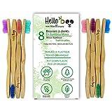Cepillo de dientes de bambú para adultos y adolescentes |Juego de 8 cepillos biodegradables de cepillo de dientes | Bambú de Moso ecológico...