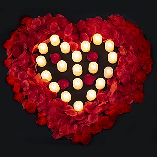 3000 PCS Artificial Silk Red Rose Petals and 20 PCS LED Candles Battery Flameless Flickering Candle Decoration for Romantic Night, Wedding, Event, Party, Decoration