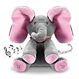 Moclever 12Inch Stuffed Plush Elephant Doll Peek-a-Boo Elephant, Animated Talking Singing Cute Elephant Baby Doll Toy for Toddlers Kids Boys Girls Gift (Pink)