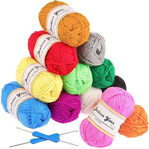 Fuyit Häkelgarn 600g (12x50g) Wolle Zum Stricken Acryl Wolle Set Handstrickgarn Baumwollgarn für Häkeln und Kunsthandwerk