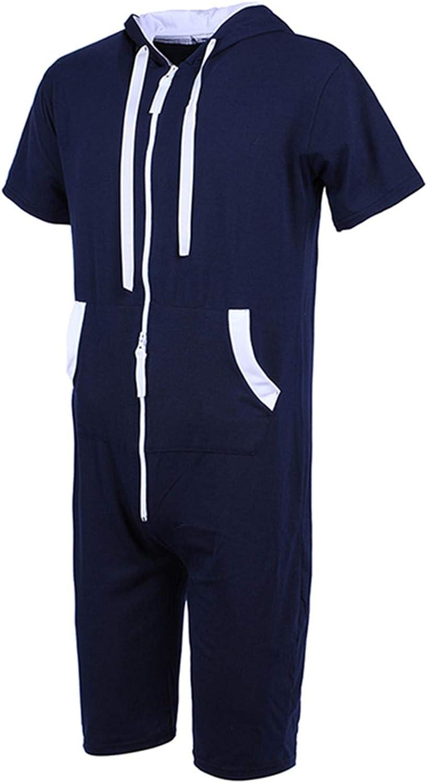 Mens Onesies Short Sleeve Hoodie Jumpsuit Full Zip Cotton Playsuit All in One Casual Aztec Streetwear Classic Loungewear Set Tracksuits Full