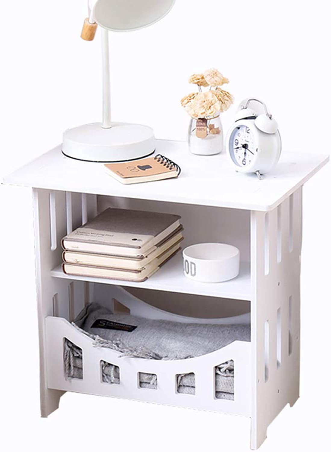 Coffee Table Storage Cabinet, Simple Small Table, Multi-Functional Storage Hollow-Carved Design Suitable for Sofa Side Bedroom Bedside