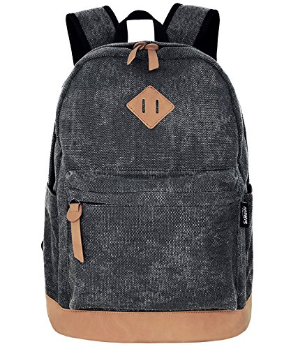 Unisex Lightweight Canvas College Backpacks Travel Hiking Laptop Backpack Rucksack Schoolbags School Book bag Daypack (Black Washed)