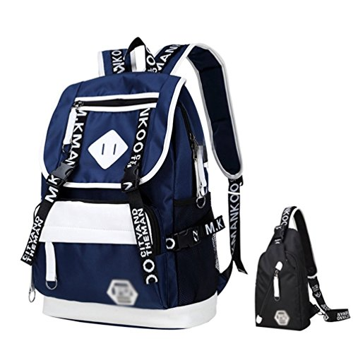 WanYangg Hombres Mochilas Escolares Juveniles Casual De Paseo Y Camping Mochila Escolar De Universitaria Bolsas De Libro Con Usb Puerto Azul (bandolera negra + estuche de lápices negro)