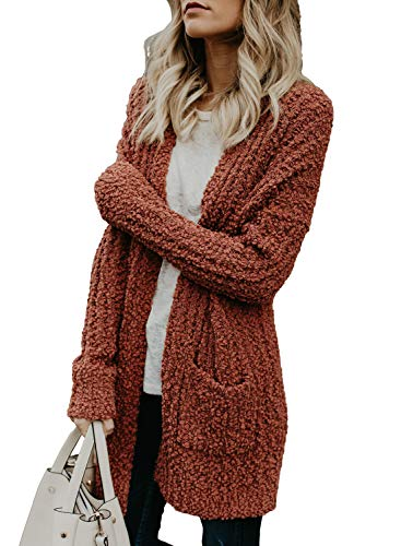Asvivid Womens Comfy Open Front Long Sleeve Oversized Fuzzy Cardigan Lightweight Juniors Winter Warm Popcorn Sweater Coat with Pockets L Red