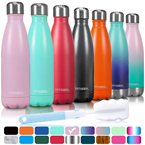 Arteesol Trinkflasche, 350/500/750 ml Edelstahl Wasserflasche Doppelwandig Vakuumisoliert Water Bottle Schmaler Mund & BPA-frei für Outdoor-Sport Fitness Workout Camp & Office.(Rosa, 750ML)