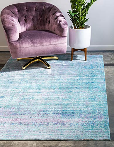 Unique Loom Traditionnel Aria Contemporain Moderne Abstrait Zone Tapis, Polyester, Bleu Clair, 10 x 13