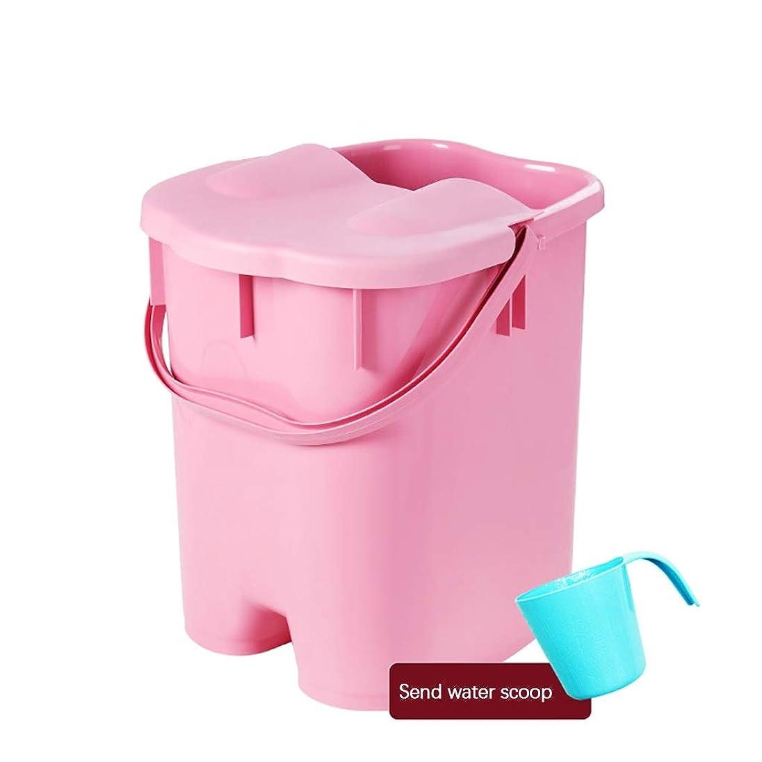 目指す請求可能不適ISHOWER マッサージ浴槽プラスチック製の足湯バケツふた付き保温足風呂洗面器大人用スパボウル家庭用 (Color : Pink, Size : 27*30.5*38.5cm)