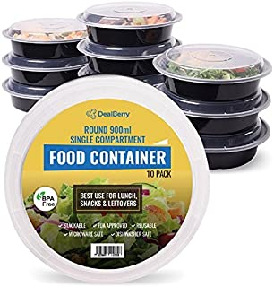 Dealberry Round BPA Free Meal Prep Containers. Reusable Plastic Food Containers with Lids. Stackable, Microwavable, Freezer & Dishwasher Safe Bento Lunch Box Set 10 Pack (900 ml)