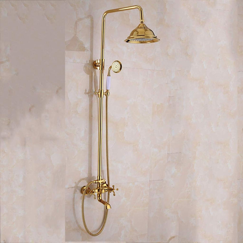 GZF Handheld Showers,Shower set, stylish jade shower, multi-function, copper, retro European, bathroom shower