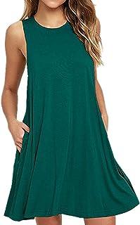 Cami-sunny Beach Wear サマービーチドレス タンクトップ レディース ビキニ水着のカバーアップ用 シンプル プリーツ入り ルーズ