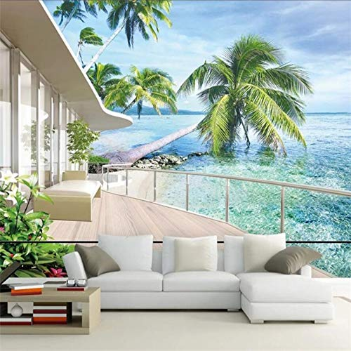 BHXIAOBAOZI Eigen 4D muurschildering groot behang, mooi strand en kokospalmen buiten het balkon, moderne Hd-zijde muurschilderij poster afbeelding tv sofa achtergrond muur decoratie voor woonkamer 400cm(W)×250cm(H) 13.12×8.2 ft