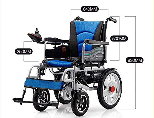 BBX Electric Wheelchair Powerchair Disabled Wheelchair Elderly Electric Wheelchair Large Wheel Lightweight Folding Portable Powerchair Only 75Lb,Blue