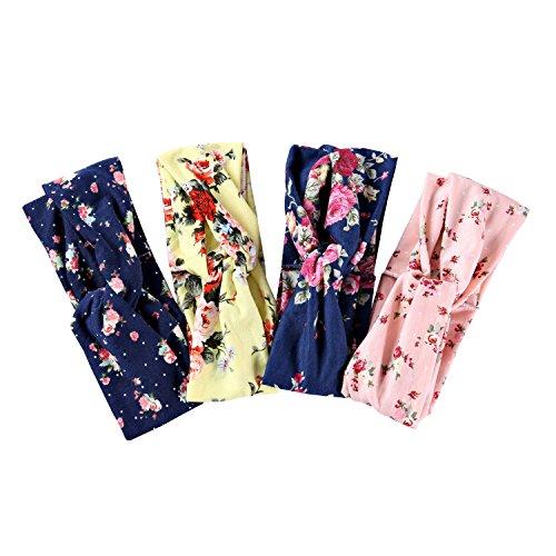 4 unidades de diademas elásticas marca de Ever Fairy®, tipo turbante, estampadas con diseño de flores, de algodón, para mujeres, turbante suave para yoga o para vestir