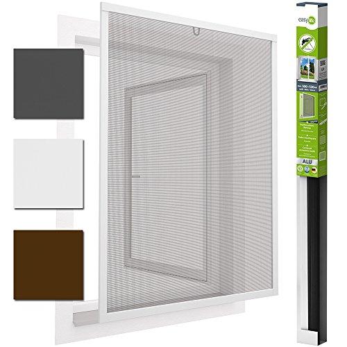 easy life Insektenschutz Fenster easyLINE Fliegengitter mit ALU Rahmen Insektenfenster ohne Bohren und Schrauben individuell kürzbares Fliegennetz mit hochwertigen Aluminium Profilen, Farbe:Weiß, Größe:100 x 120 cm