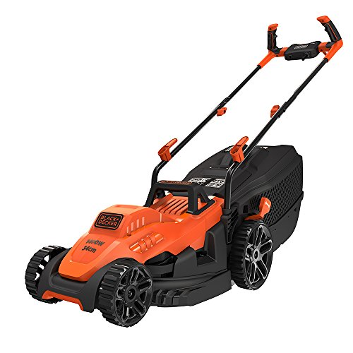 Black+Decker Electric 1400-Watt,13 Inch Winged Blade, 40L Grassbox Lawn Mower with Bike Handle (Red and Black)