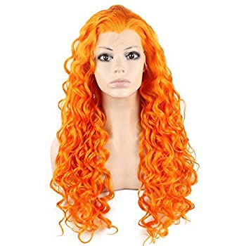 Mxangel Long Curly Heat Resistant Synthetic Lace Front Wig  orange