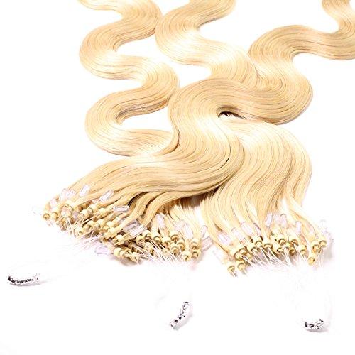hair2heart 100 x 1g Echthaar Microring Loop Extensions, 50cm - gewellt - #22 goldblond