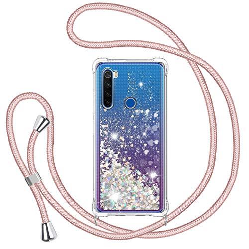 Funda Glitter Liquida con Cuerda para Xiaomi Redmi Note 8 2019 & 2021, Glitter Cristal Suave Silicona TPU Bumper Protector Carcasa, Brillante Arena Movediza con Colgante Ajustable Cordón Case-Oro Rosa