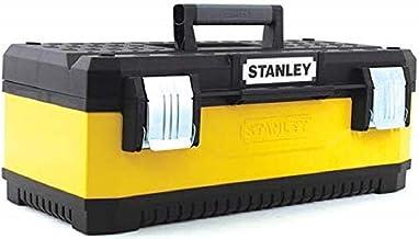 Stanley 1-95-612 Gereedschapskoffer, 50 x 30 x 22 cm, van metalen kunststof met robuuste constructie, koffer met bi-materi...
