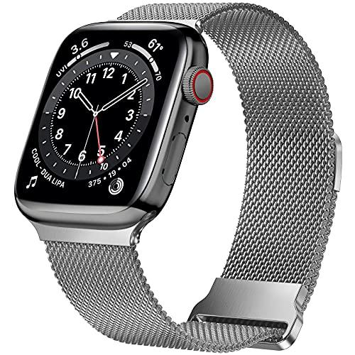 HILIMNY Correa de metal compatible con Apple Watch Correa 42mm 44mm 45mm, correa de repuesto de malla de acero inoxidable con bucle para IWatch Series 7/6/5/4/3/2/1/SE, Gris espacial 42/44/45mm