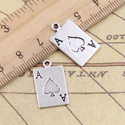 WANM 15Pcs Charms Ace Of Spades Playing Card Poker 20X12Mm Tibetan Bronze Silver Color Pendants Crafts Making Finding Antique Jewelry