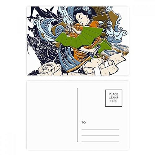 DIYthinker Japan Kimono Vrouw Samurai Zwaard Postkaart Set Verjaardag Thanks Card Mailing Side 20 stks 5.7 inch x 3.8 inch Multi kleuren