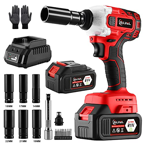 SILVEL Impact Wrench, 20V 1/2 Inch Brushless Motor Cordless Impact Wrench, Torque 350 Ft-lbs, with Fast Charger, 4.0A Lithium Battery, 7 Sockets, 1 Extension Bars, Power Impact Wrenches for Car