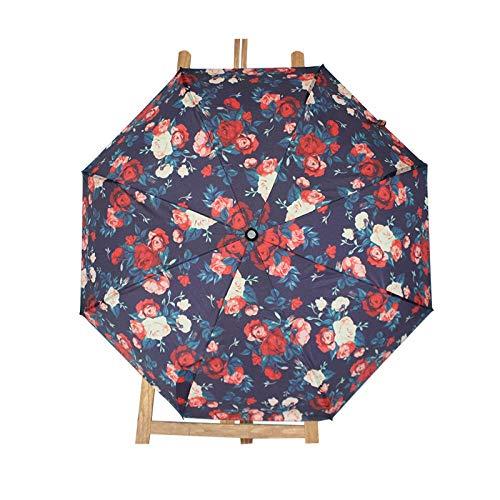 Sonnenschirm Regenschirm Kleiner Blumen 3-Fach Anti-Uv-Sonnenregenschirm Spezielle Robuste Helle Haltbarkeit Nicht Automatisches Peeling Modegriff Geschenk