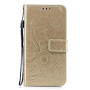 Docrax Xiaomi Redmi 5Plus Handyhülle, Hülle Leder Case mit Standfunktion Magnetverschluss Flipcase Klapphülle kompatibel mit Xiaomi Redmi 5 Plus – DOXCH030529 Gold