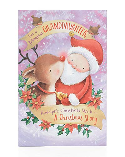 Granddaughter Christmas Card- Cute Granddaughter Christmas Card for Kids- Cute Santa and Reindeer Christmas Card- Gift Card for Girls- Granddaughter Christmas Gifts