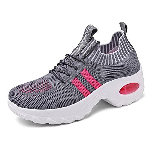 LXLOVESM Zapatos de mujer para caminar, de moda, sin cordones, para correr, casual, atlético, ligero, transpirable, trabajo, gris, 42 EU