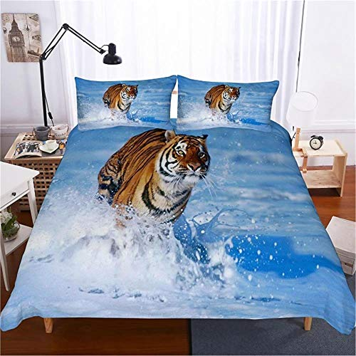 MENGBB Duvet Cover Set 3D Effect White snow animals tiger 135x200cm Total 4 Size, give away pillowcase, Duvet Cover single bed with 2 Pillow Cases 50x75cm Microfiber Bedding Quilt Cover Set with Zippe