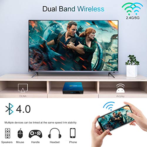 Android TV Box 10.0 Q8 QPLOVE 【4 GB + 128 GB】 mit Mini-Tastatur Touchpad RK3318 Quad-Core 64bit 4K Ultra HD Smart TV Box Unterstützung Dual WiFi 2.4G/5 GHz 100 M LAN H.265 3D Bluetooth 4.0 Set Top Box