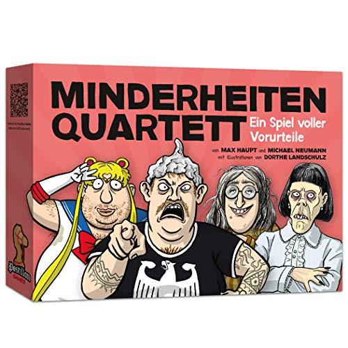 Postillon Games Minderheiten-Quartett, EIN Kartenspiel voller Vorurteile. Der Satire-Klassiker. 100% schwarzer Humor.