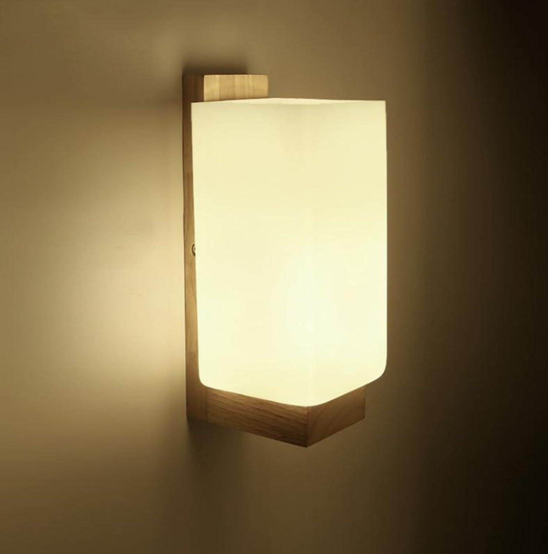 AJZGF Holzwandleuchte Moderne Minimalistische Wandleuchte Schlafzimmer Nachttischlampe Gang Flur Massivholz Kreative Lampe,B